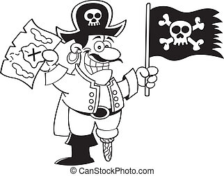 Cartoon pirate holding a flag and m - Black and white...