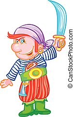 Cartoon pirate kid with a sword, isolated object on white background, vector illustration,