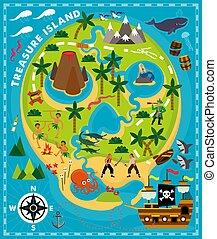 Cartoon Pirate Map Treasure, Travel Adventure. Vector Illustration.