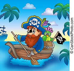 Cartoon pirate paddling in boat - color illustration.