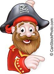 Cartoon Pirate Peeking and Pointing - A cartoon pirate...