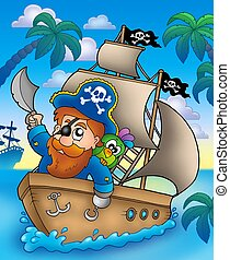 Cartoon pirate sailing on ship - color illustration.