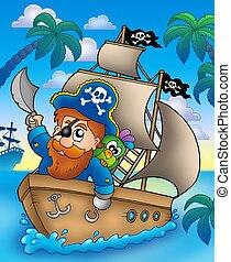 Cartoon pirate sailing on ship - color illustration.