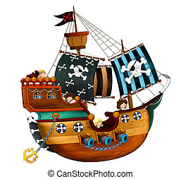 Cartoon pirate ship with cannons on white background - ...