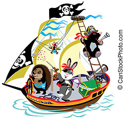 cartoon pirate ship with mole captain and his team, children illustration, isolated picture for little kids