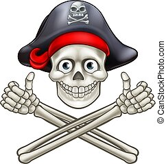 Cartoon Pirate Skull and Crossbones - Jolly Roger pirate...