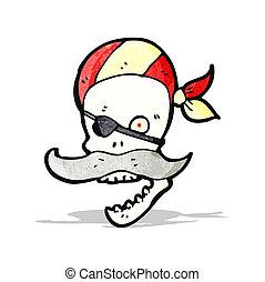cartoon pirate skull with mustache