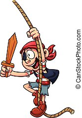 Cartoon pirate swinging on a rope. Vector clip art...