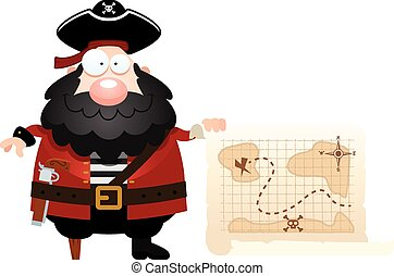 Cartoon Pirate Treasure Map