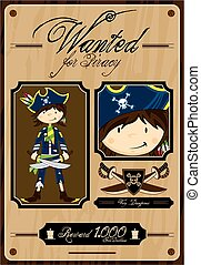 Cartoon Pirate Wanted Poster