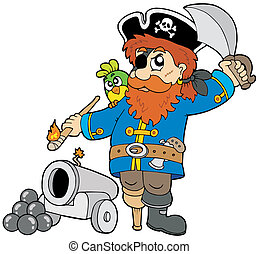 Cartoon pirate with cannon - vector illustration.
