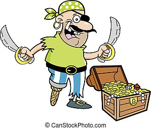 Cartoon Pirate with treasure