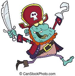 Cartoon Pirate Zombie With A Cutlas