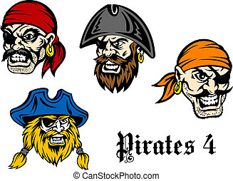 Cartoon pirates and captains - Cartoon brutal pirates and...