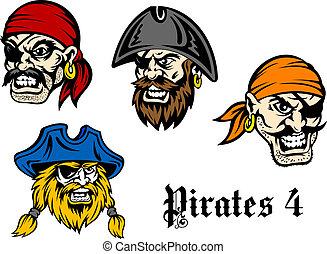 Cartoon pirates and captains - Cartoon brutal pirates and...
