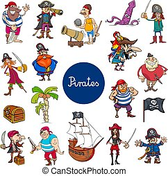 cartoon pirates fantasy characters set