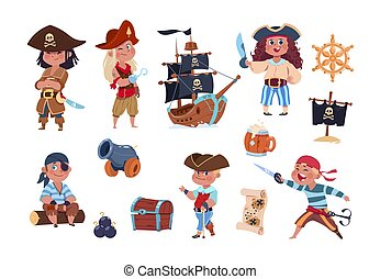 Cartoon pirates. Funny pirate captain and sailor characters, ship treasure map vector collection