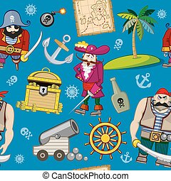Cartoon pirates seamless pattern background