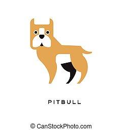 Cartoon pitbull character isolated on white