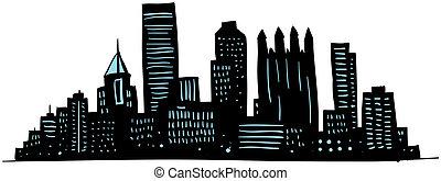 Cartoon skyline silhouette of the city of Pittsburgh, Pennsylvania, USA.
