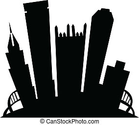 Cartoon Pittsburgh - Cartoon skyline silhouette of the city...