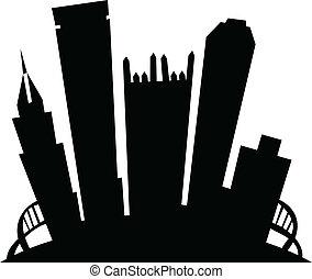 Cartoon Pittsburgh - Cartoon skyline silhouette of the city...