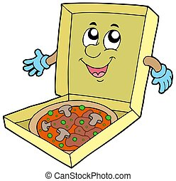 Cartoon pizza box