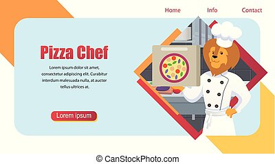 Cartoon Pizza Chef Lion King Character Banner