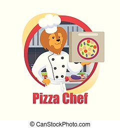 Cartoon Pizza Chef Lion King Hold Pizza Box in Paw