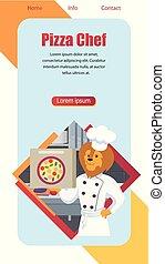 Cartoon Pizza Chef Lion Vertical Banner, Flat.