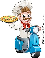 Cartoon Pizza Chef on Delivery Moped Scooter - Cartoon chef...