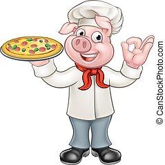 Cartoon Pizza Chef Pig Character