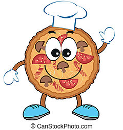 cartoon., pizza