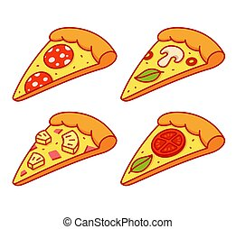 Cartoon pizza slice set