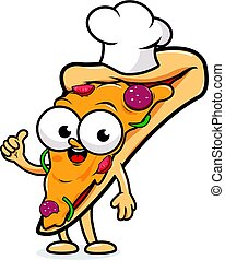 Cartoon pizza slice with a chef hat