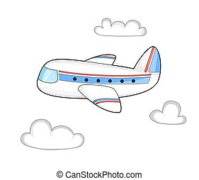 Cartoon plane in the cloudy sky. Isolated illustration. Vector.