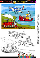 cartoon plane train ship coloring page - Coloring Book or...