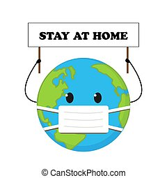 Cartoon planet in medical mask with sign