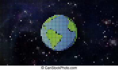 cartoon planet in space pixel style