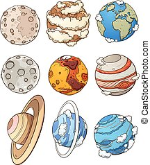 Cartoon planets and Earth's moon. Vector clip art...
