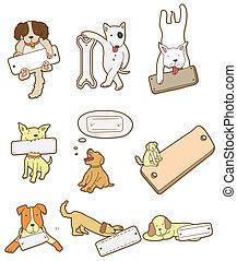 cartoon, planke, hund ikon