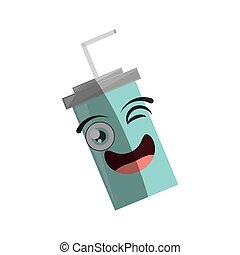cartoon plastic cup soda straw wink