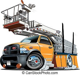 Cartoon Platform Lift Truck - Vector Cartoon Platform Lift...