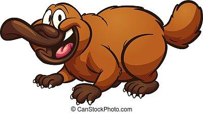 Cartoon platypus - Happy cartoon platypus. Vector clip art...
