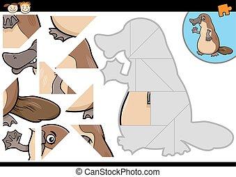 cartoon platypus jigsaw puzzle game - Cartoon Illustration ...