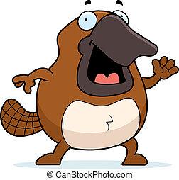 Cartoon Platypus Waving - A happy cartoon platypus waving ...