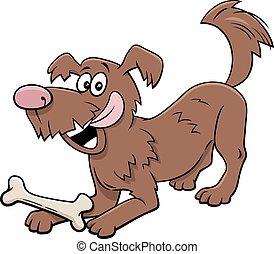 cartoon playful dog animal character with bone