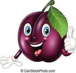 Cartoon plum giving thumbs up - Vector illustration of...