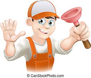 Cartoon Plumber holding Plunger - A cartoon plumber holding...
