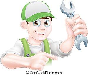 Cartoon Plumber Pointing